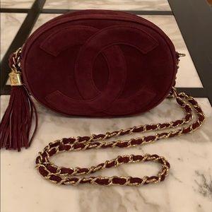 Chanel Suede Tasseled Camera Case Handbag